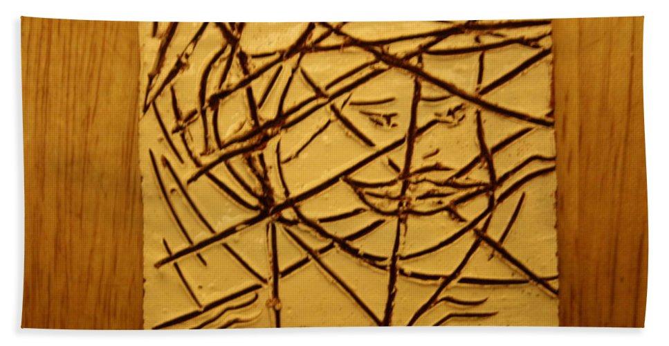 Jesus Beach Towel featuring the ceramic art Illuminate - Tile by Gloria Ssali