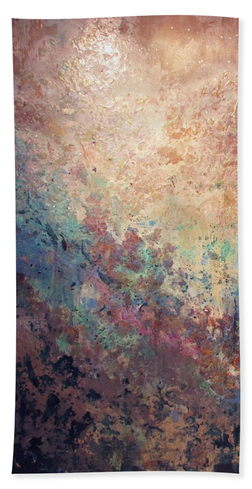 Mica Beach Towel featuring the painting Illuminated Valley I Diptych by Shadia Derbyshire