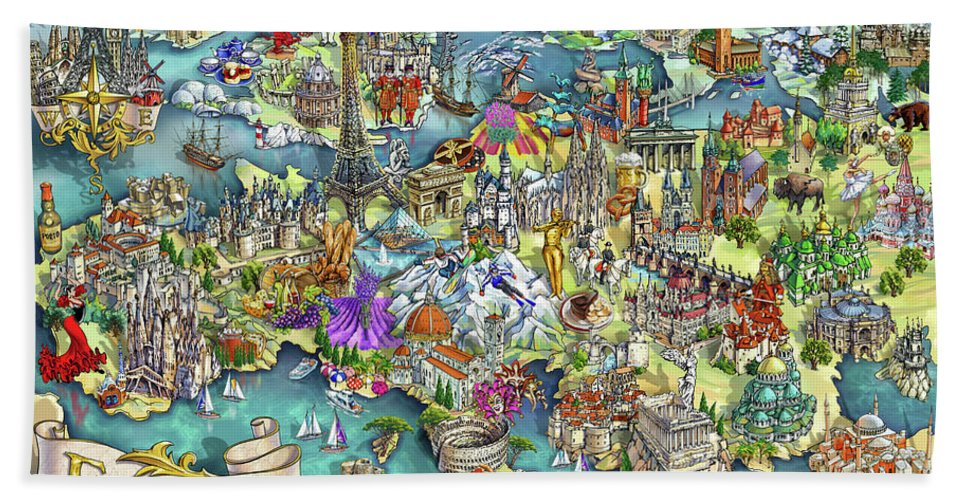 Map Of Europe For Sale.Illustrated Map Of Europe Beach Towel For Sale By Maria Rabinky