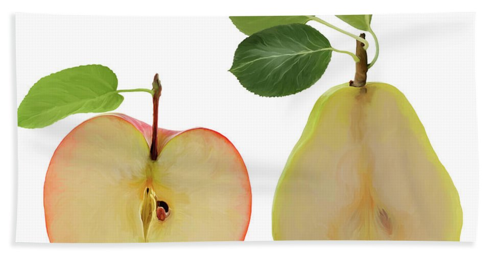 Apple Beach Towel featuring the digital art Illustration Of Apple And Pear by Svetlana Foote