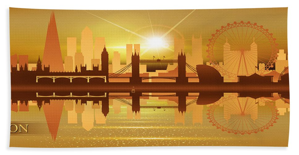 Poster Beach Towel featuring the digital art Illustration Of City Skyline - London Sunset Panorama by Don Kuing