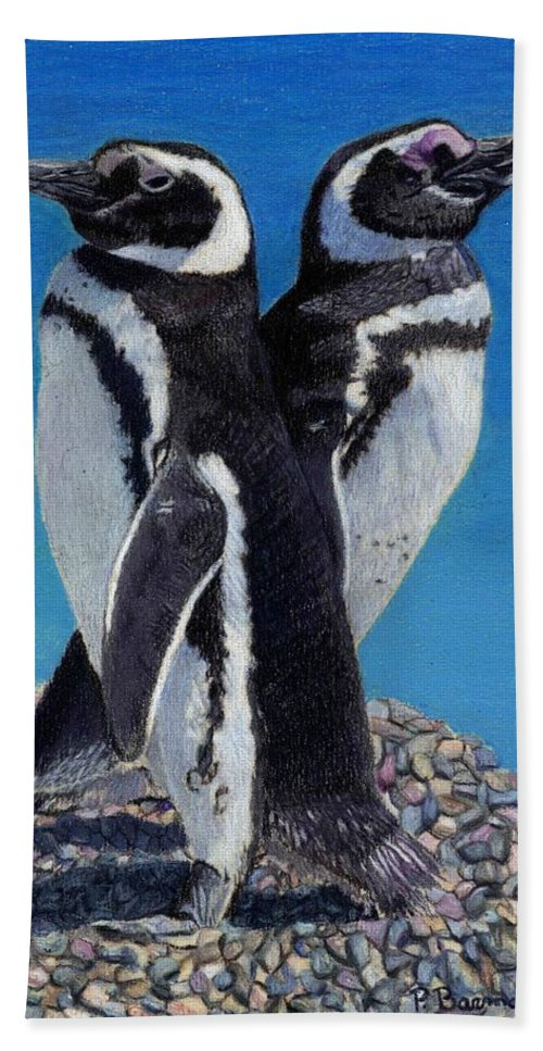 Penguins Beach Towel featuring the painting I'm Not Talking To You - Penguins by Patricia Barmatz