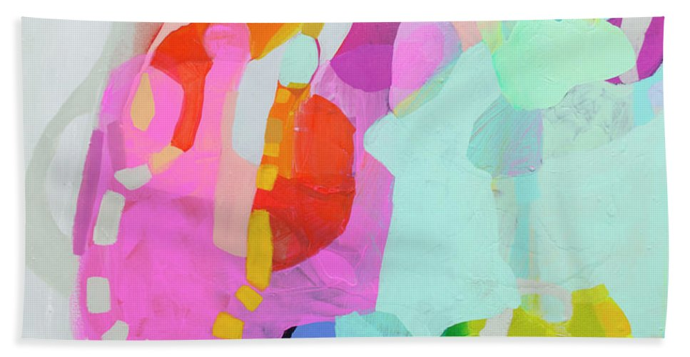 Abstract Beach Towel featuring the painting I'm So Glad by Claire Desjardins