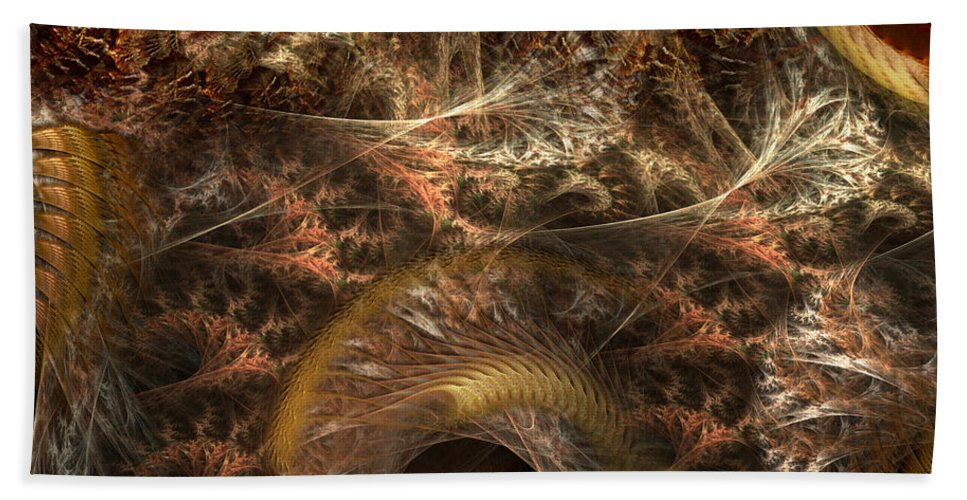 Abstract Beach Towel featuring the digital art Image Of The Organism by Casey Kotas