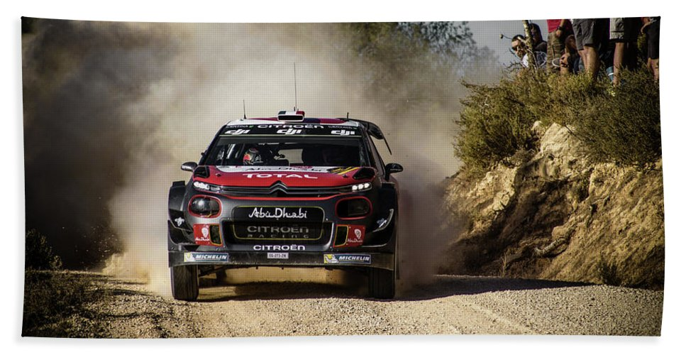 Michelin Beach Towel featuring the photograph imagejunky_KB - RallyRACC WRC Spain - Lefebvre / Patterson by Imagejunky Art-Photography