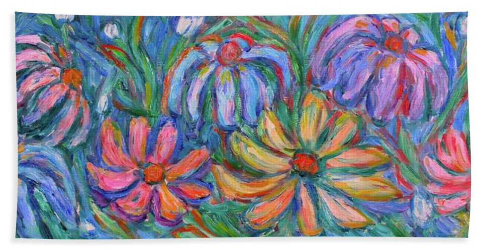 Flowers Beach Sheet featuring the painting Imaginary Flowers by Kendall Kessler