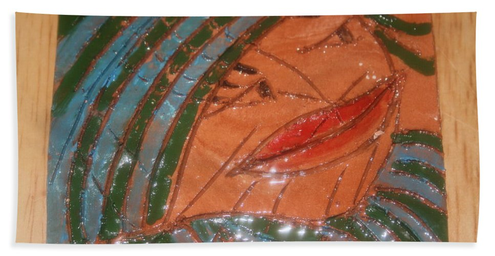 Jesus Beach Towel featuring the ceramic art Imelda - Tile by Gloria Ssali