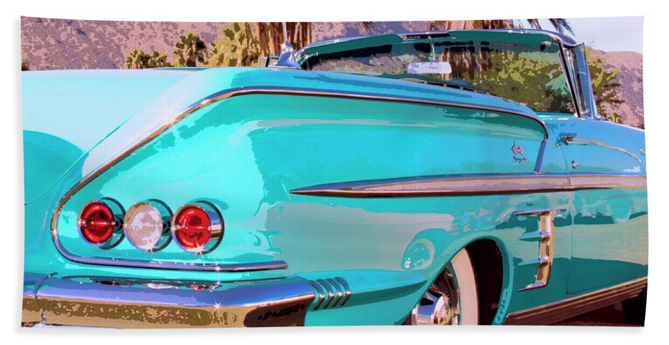 Blue Car Beach Towel featuring the photograph Impala Convertible by William Dey