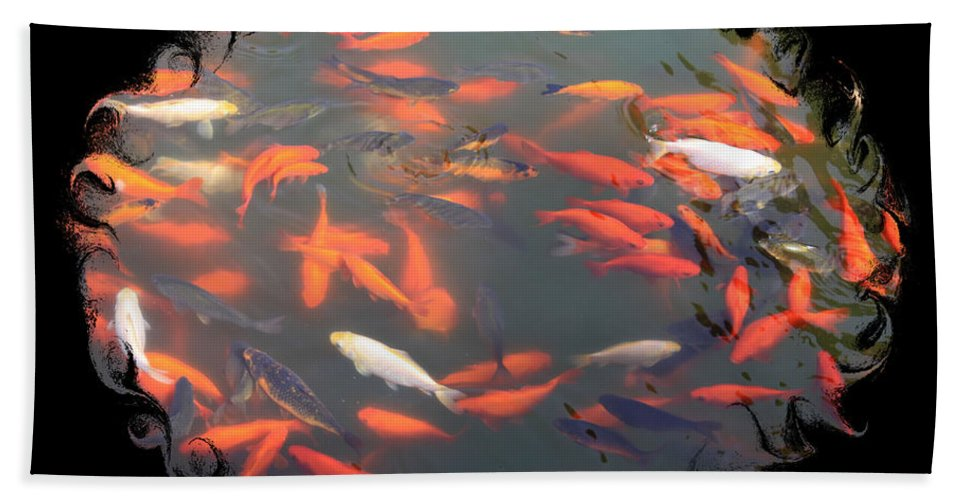 Photography Beach Towel featuring the photograph Imperial Koi Pond With Black Swirling Frame by Carol Groenen