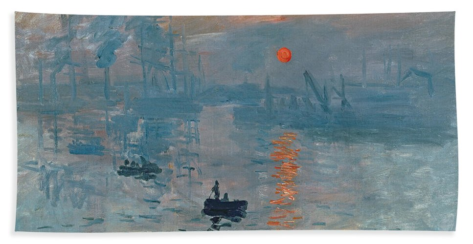 Impression Beach Towel featuring the painting Impression Sunrise by Claude Monet