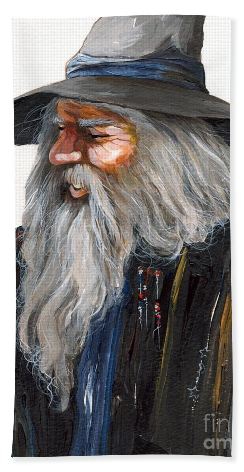 Fantasy Art Beach Towel featuring the painting Impressionist Wizard by J W Baker