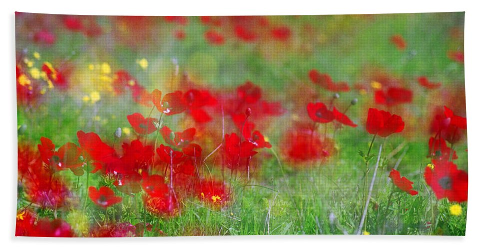 Impressionistic Beach Towel featuring the photograph Impressionistic Blossom Near Shderot by Dubi Roman