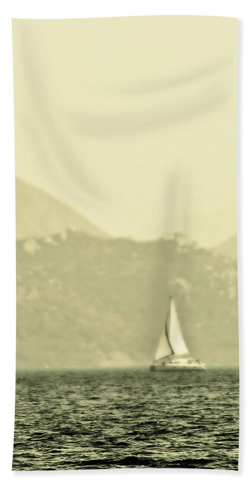 Boat Beach Towel featuring the photograph In A Distance by Svetlana Sewell