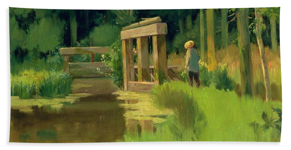 In A Park Beach Towel featuring the painting In A Park by Edouard Manet
