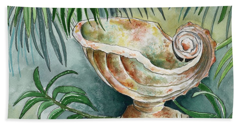 Still Life Beach Towel featuring the painting In A Tropical Garden by Brenda Owen