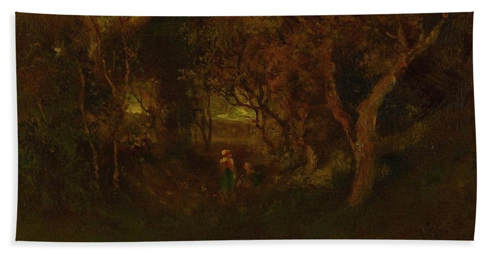 Attributed To William Keith 1839 - 1911 In A Wooded Glen Beach Towel featuring the painting In A Wooded Glen by MotionAge Designs