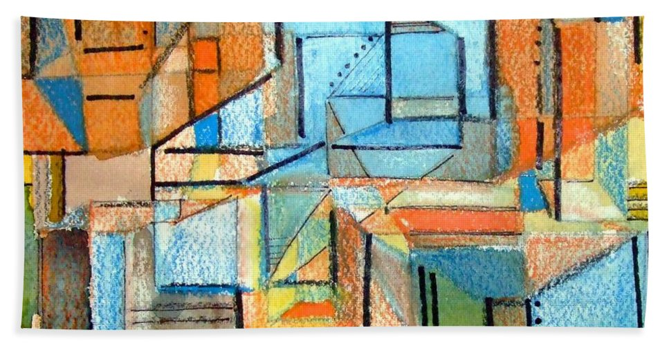 Abstraction Beach Towel featuring the painting In And Out by Mindy Newman