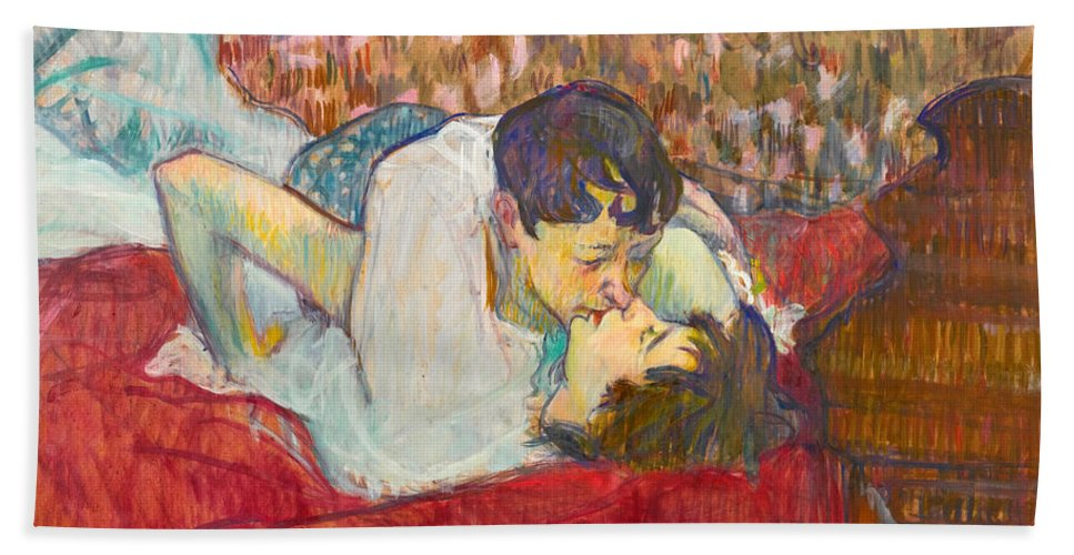 In Bed The Kiss Beach Towel For Sale By Henri De Toulouse Lautrec