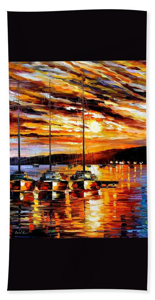 Afremov Beach Towel featuring the painting In Expectation Of Wind by Leonid Afremov