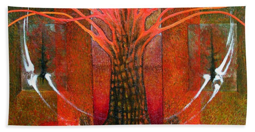 Imagination Beach Towel featuring the painting In Garden by Wojtek Kowalski