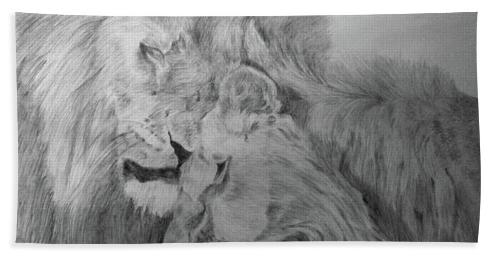 Lion Wild Cats Animals Drawing Paper Beach Towel featuring the drawing In Love by Nadi Sabirova