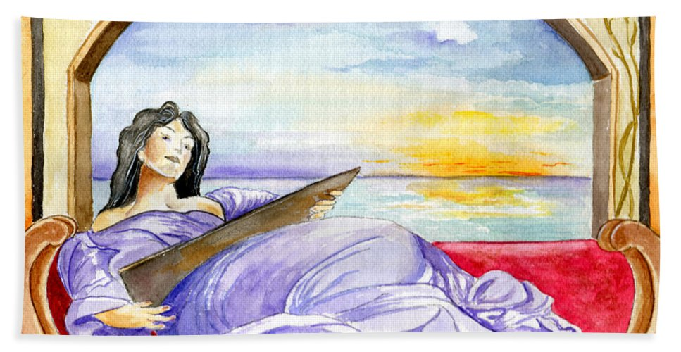 Landscape Woman Romantic Figure Window Sea Sky Beach Towel featuring the painting In Paradisum by Brenda Owen