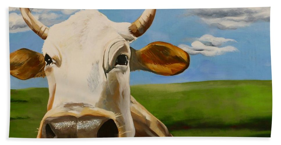 Cow Beach Towel featuring the painting In Pasture by Lori A Johnson