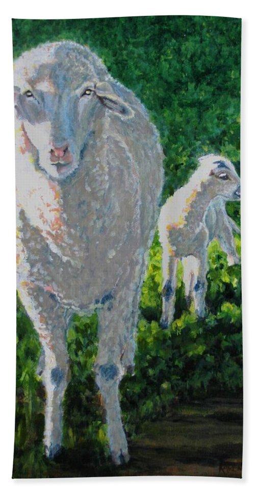 Sheep Beach Sheet featuring the painting In Sheep's Clothing by Karen Ilari