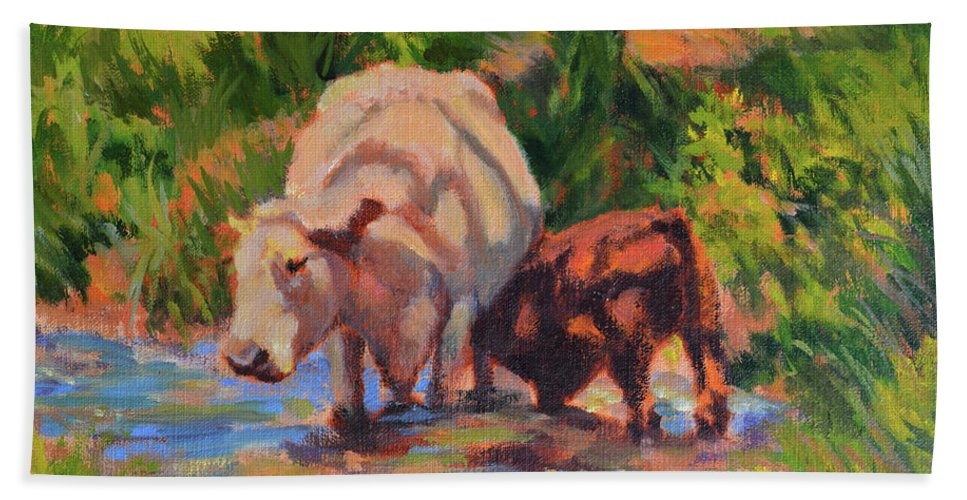 Impressionism Beach Towel featuring the painting In The Creek by Keith Burgess
