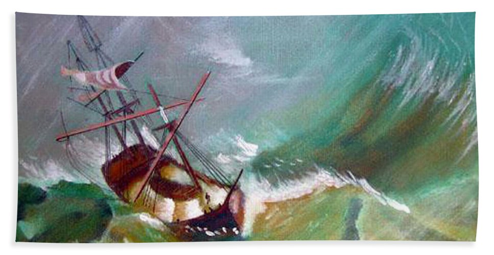 Sailing Ship Beach Towel featuring the painting In The Eye Of The Storm by Richard Le Page