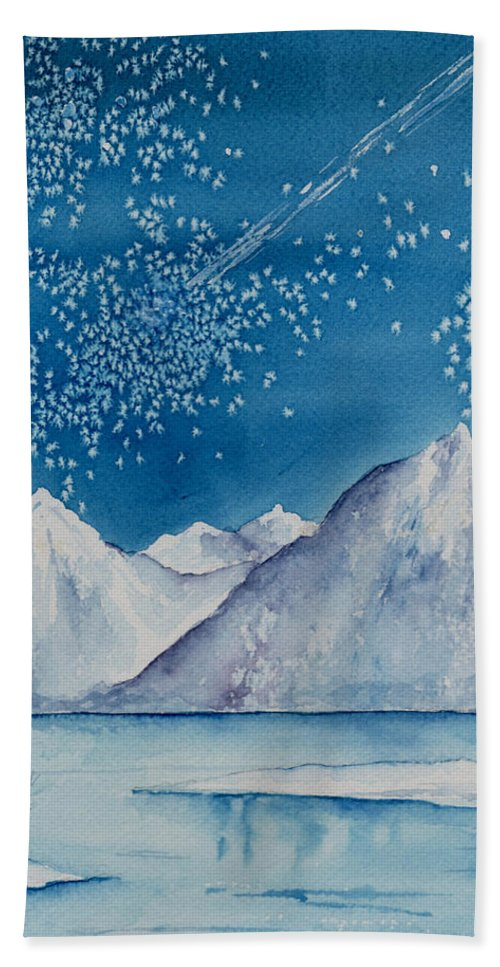 Watercol.or Scenery Landscape Fantasy Ice Snow Cold Winter Mountains Frozen Beach Towel featuring the painting In The Far North by Brenda Owen