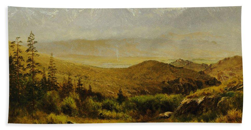 Albert Beach Towel featuring the painting In The Foothills Of The Rockies by Albert Bierstadt