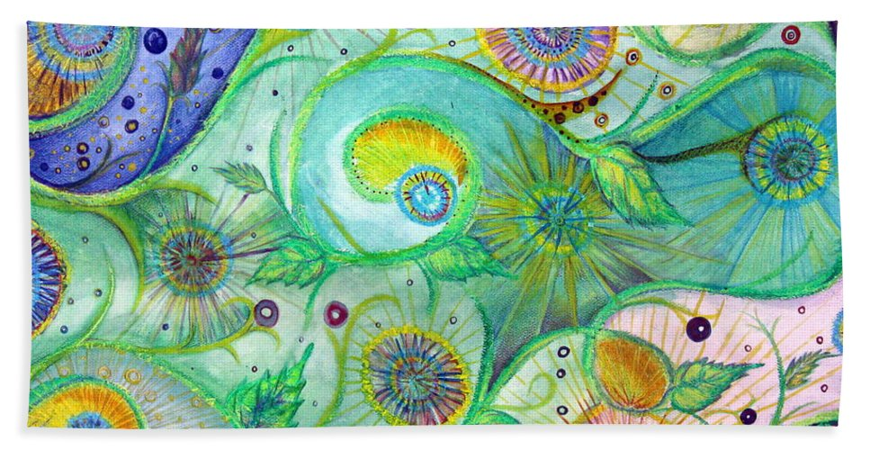 Landscape Beach Towel featuring the drawing In The Garden by Amanda Kabat