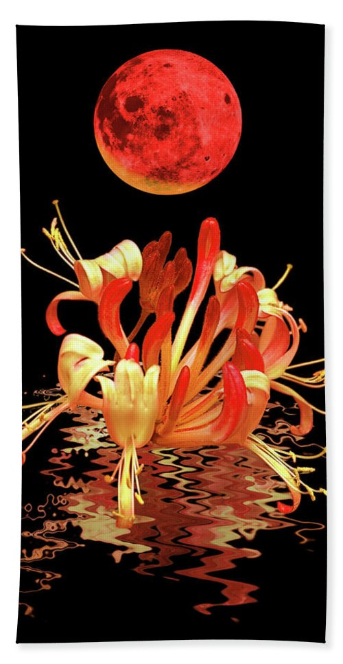Red Flower Beach Towel featuring the photograph In The Heat Of The Night 2 Honeysuckle Red Moon by Gill Billington