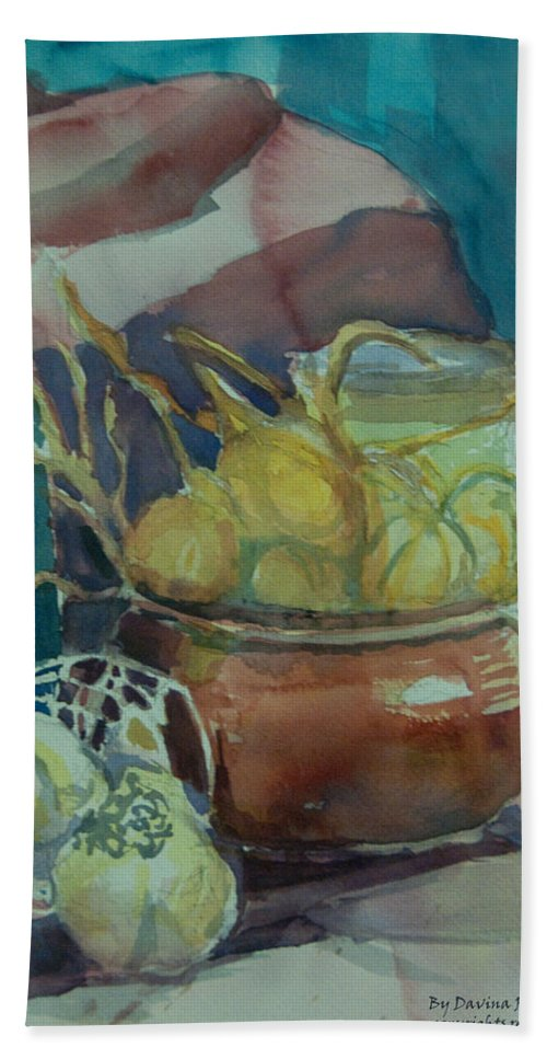 Still Life Beach Towel featuring the painting In The Kitchen by Davina Parypa