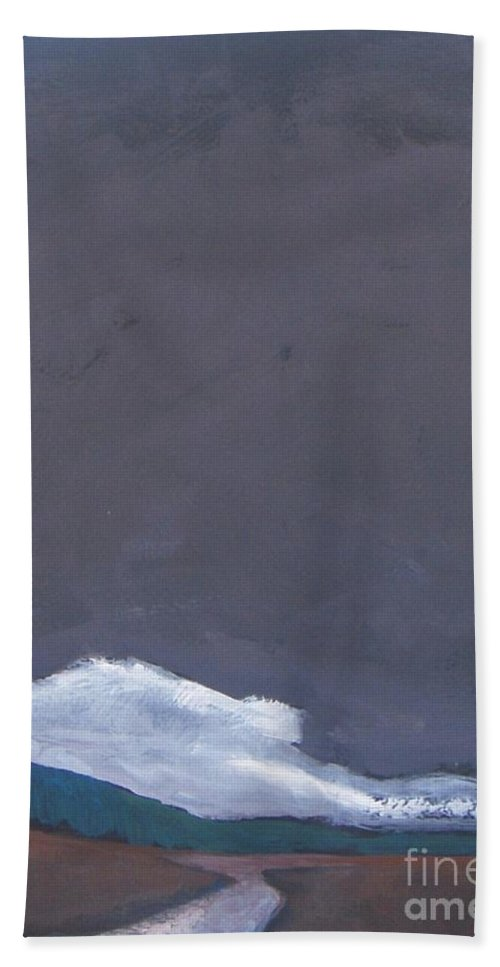 Landscape Beach Towel featuring the painting In Light Of The Clouds by Vesna Antic