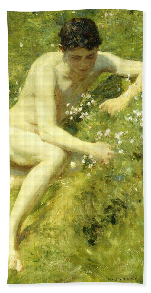 Countryside Beach Towel featuring the painting In The Meadow by Henry Scott Tuke