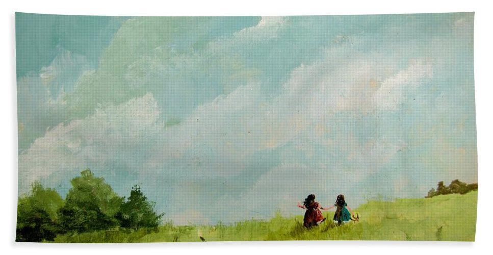 Meadow Scene Beach Towel featuring the painting In The Meadow by Marilyn Smith