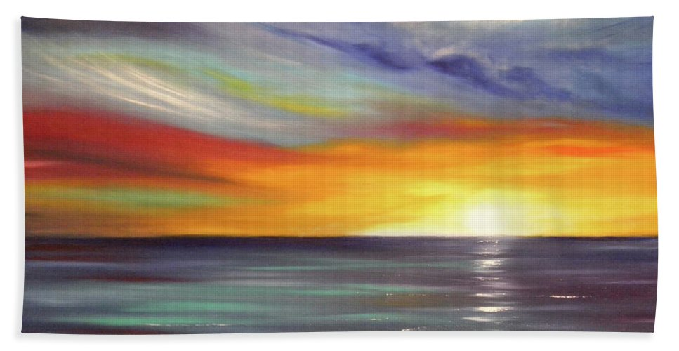 Brown Beach Towel featuring the painting In The Moment by Gina De Gorna