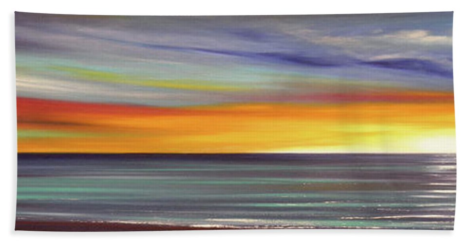 Sunset Beach Towel featuring the painting In The Moment Panoramic Sunset by Gina De Gorna