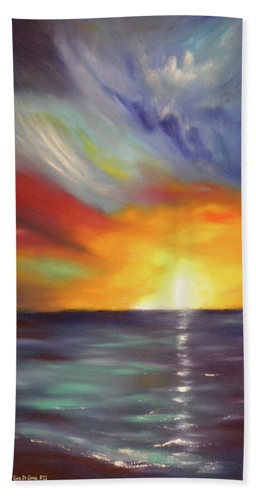 Sunset Beach Towel featuring the painting In The Moment - Vertical Sunset by Gina De Gorna