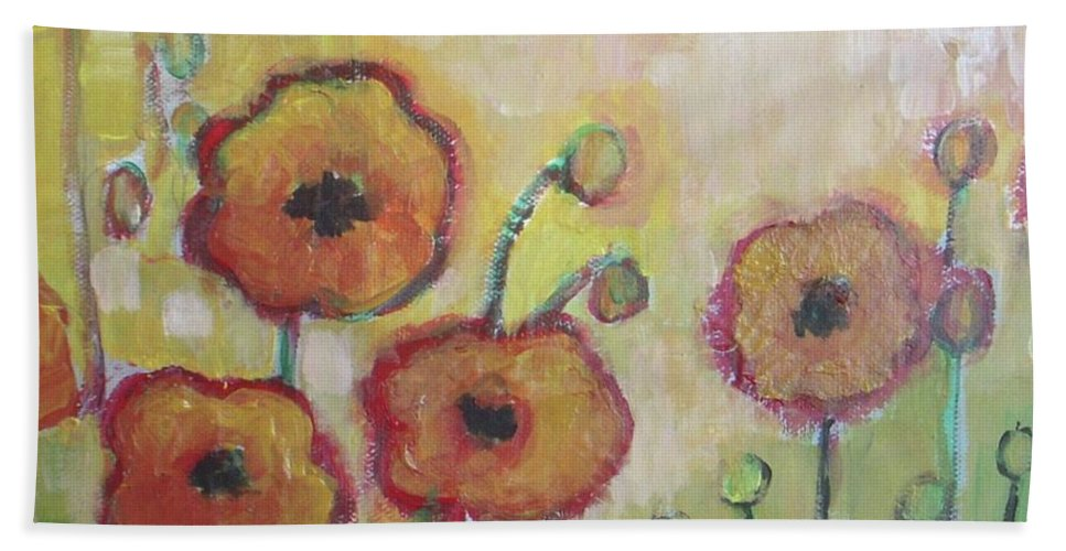 Poppies Beach Towel featuring the painting Poppies At Dusk by Vesna Antic
