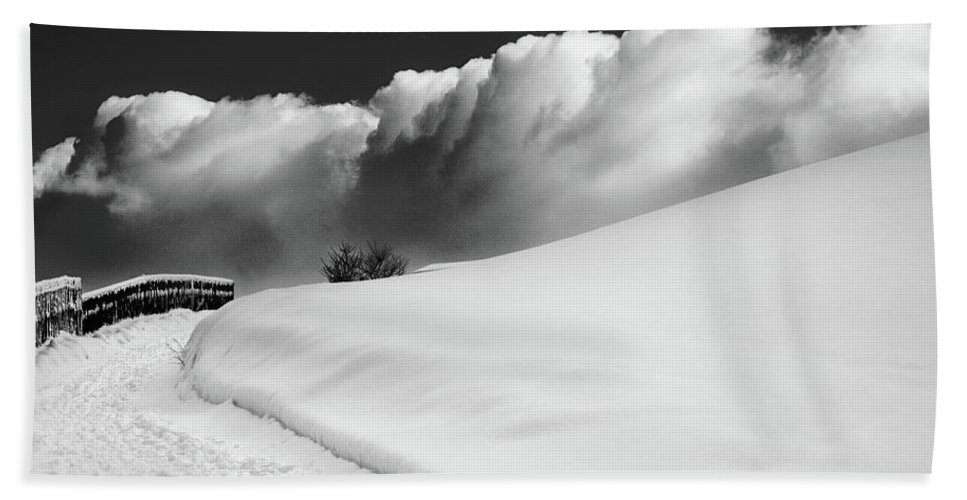 Bw Beach Towel featuring the photograph in the Ore Mountains by Dorit Fuhg