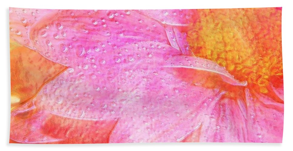 Flower Pink Digital Painting Art Design Macro Bubbles Beach Sheet featuring the photograph In The Pink by Linda Sannuti