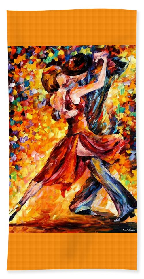 Afremov Beach Towel featuring the painting In The Rhythm Of Tango by Leonid Afremov