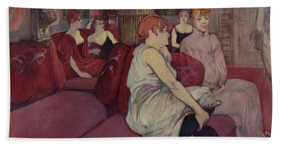 The Beach Towel featuring the painting In The Salon At The Rue Des Moulins by Henri de Toulouse-Lautrec