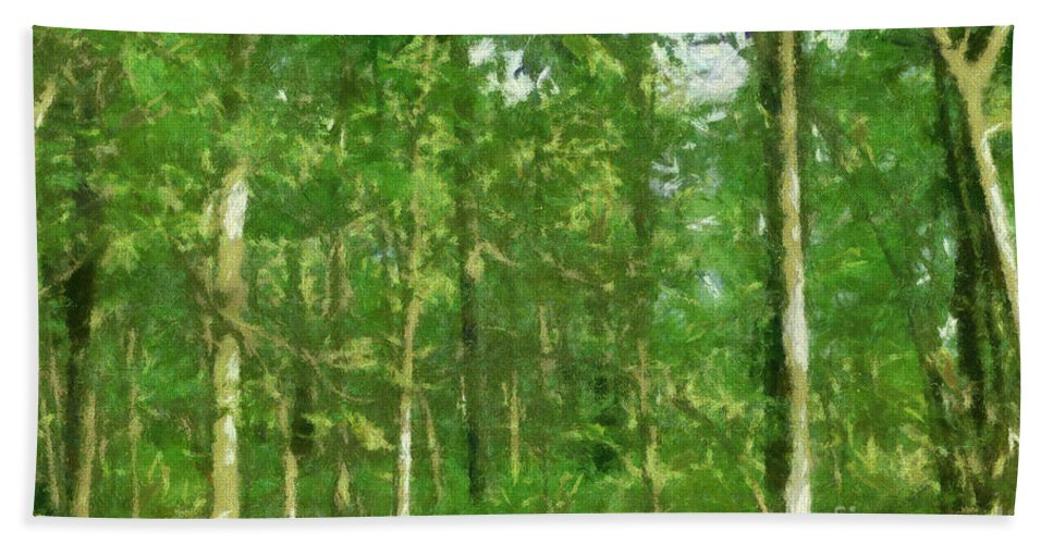 Photograph Beach Towel featuring the painting In The Thick Of Things by Paulette B Wright