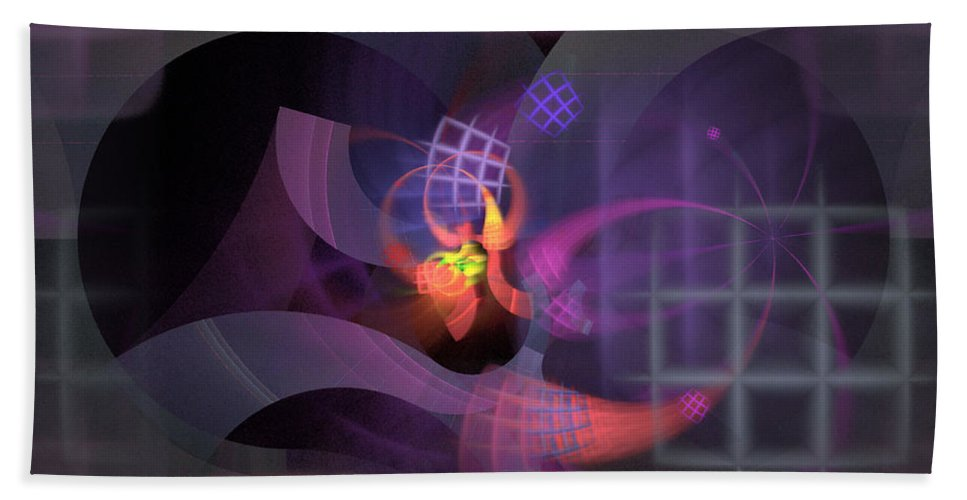 Graceful Beach Towel featuring the digital art In The Year Of The Tiger - Fractal Art by Nirvana Blues