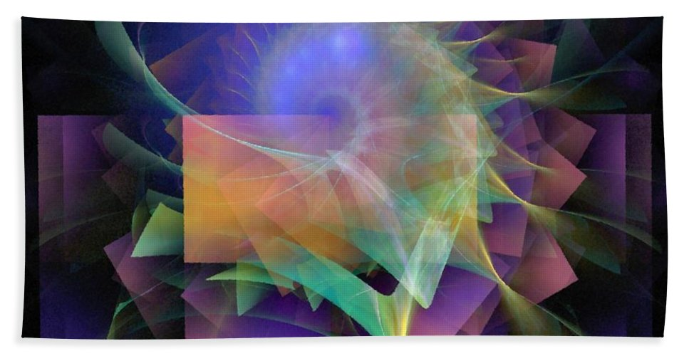 Abstract Beach Towel featuring the digital art In What Far Place by NirvanaBlues