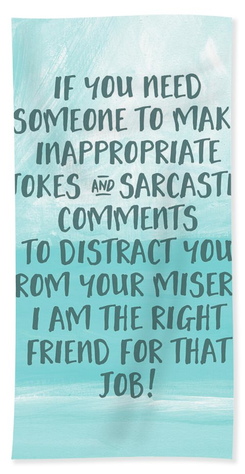 Illness Beach Towel featuring the digital art Inappopriate Jokes- Empathy Card By Linda Woods by Linda Woods